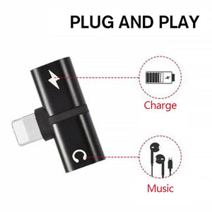 2-In-1 Dual-Port Headphone Adapter For iPhone