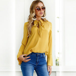 higomore™ Lace-up Long Sleeve Chiffon Blouse