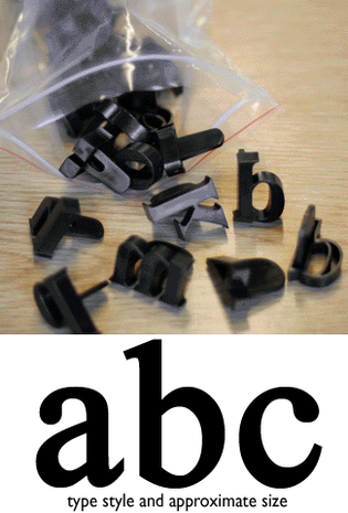 press in letters traditional lowercase
