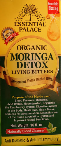 MORINGA LIVING DETOX BITTERS (Organic) Net Weight: 16 oz.