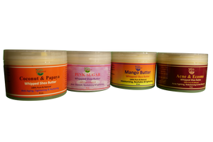WHIPPED SHEA BUTTER( Acne, Coconut, Mango,Milk & Honey, Coconut Oil, Pink Sugar) 8 oz.