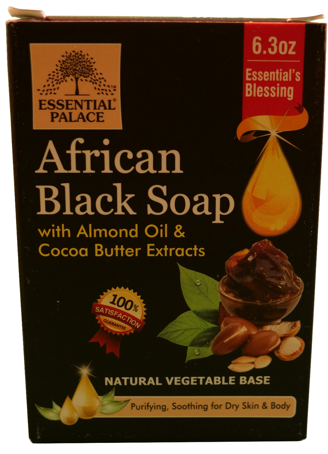 BLACK SOAP (Natural Vegetable Base) Net Weight: 6.3 oz.