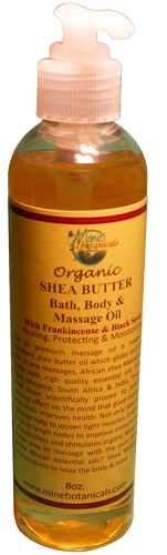SHEA BUTTER MASSAGE OIL (with Black Seed & Frankincense) Net Weight: 8 oz.
