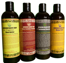 Load image into Gallery viewer, LIQUID BLACK SOAP (Acne, Shea, Mango, Charcoal) Net Weight: 13 oz
