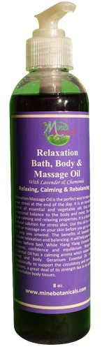 RELAXATION MASSAGE OIL (with Lavender & Chamomile) Net Weight: 8 oz.
