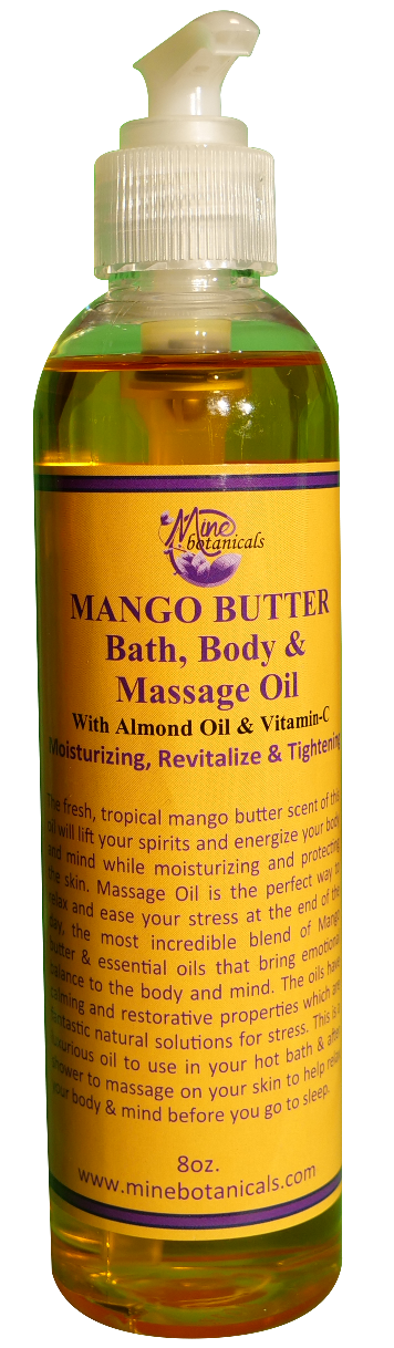 MANGO BUTTER MASSAGE OIL(with Almond Oil & Vitamin E) Net Weight: 8 oz. - Elite Seamoss and Organics