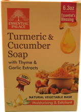 Load image into Gallery viewer, TURMERIC & CUCUMBER with THYME & GARLIC EXTRACTS SOAP (Natural Vegetable Base) Net 6.3 oz