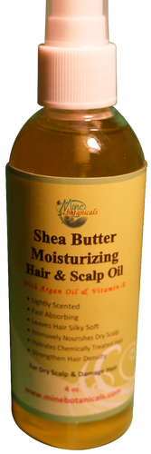 SHEA BUTTER MOISTURIZING HAIR & SCALP OIL with Argan Oil & Vitamin E (For Dry Scalp & Damaged Hair) Net Weight: 4 fl oz.