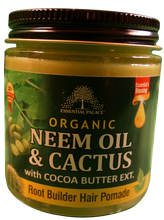 Load image into Gallery viewer, ORGANIC NEEM OIL & CACTUS HERBAL HAIR POMADE (w/Cocoa Butter Ext.) Net Weight: 4 oz.