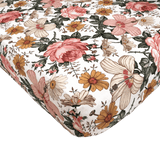Crib Sheet Garden Floral White