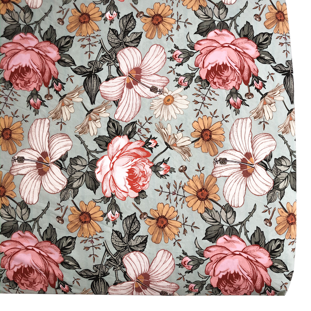 Crib Sheet Garden Floral Sea Foam (Standard)