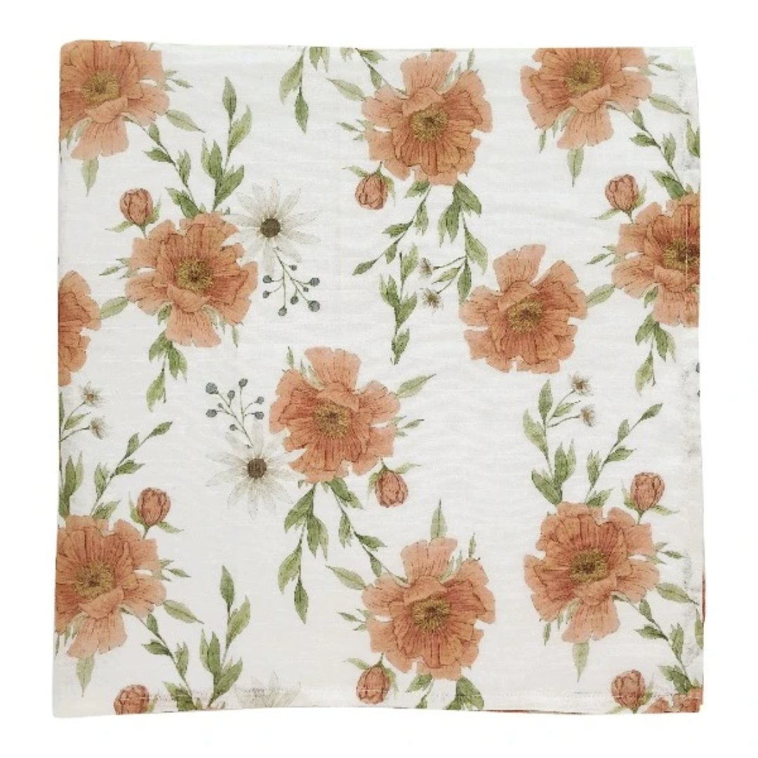 Swaddle Peony Blooms White - flawed print