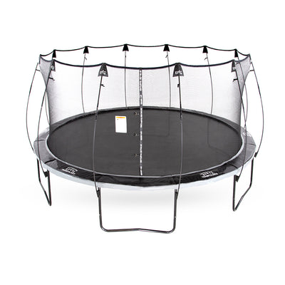 16-foot round Epic Series trampoline with black and gray spring pad and flex rod enclosure poles.