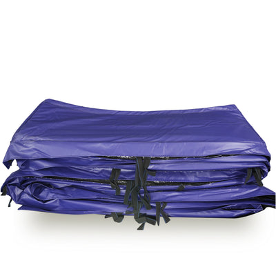 Blue spring pad with black straps on it for securing around the trampoline frame.