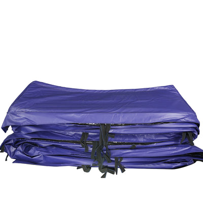 Blue PVC spring pad includes black straps for securing the spring pad to the trampoline.