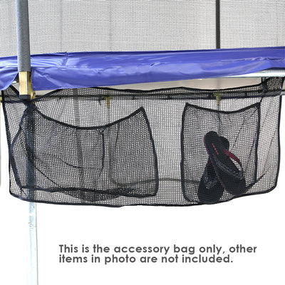 Storage bag accessory with two pockets attached to the side of the trampoline.