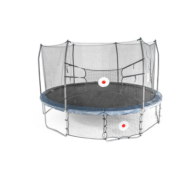 15 by 13 foot oval trampoline with navy spring pad, Upper Bounceback net across enclosure poles, and Kickback net attached below frame.