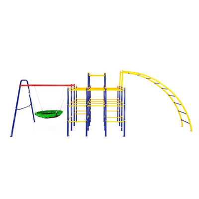 The Jungle Gym Base sits in the center with the Saucer Swing connected on the left and the Arched Ladder on the right.