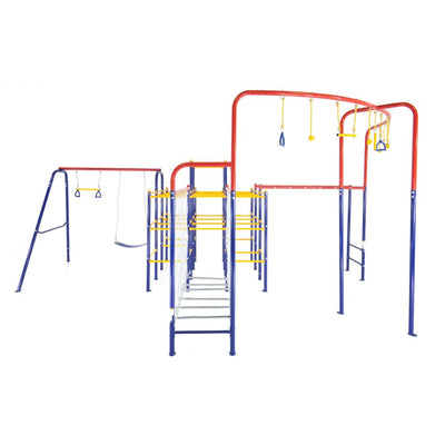 The ActivPlay Modular Jungle Gym base with Swing Set, Monkey Bars, Hanging Bridge, and Hanging Jungle Line attachments.
