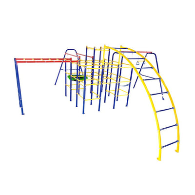 This playset includes the Jungle Gym Base, the Monkey Bars, Arched Ladder, Saucer Swing, and Swing Set.