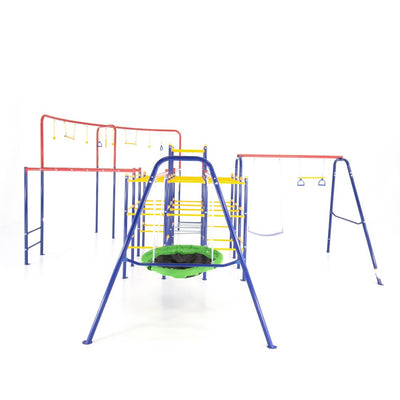 The Modular Jungle Gym with Swing Set, Monkey Bars, Hanging Bridge, Hanging Jungle Line, and Saucer Swing.