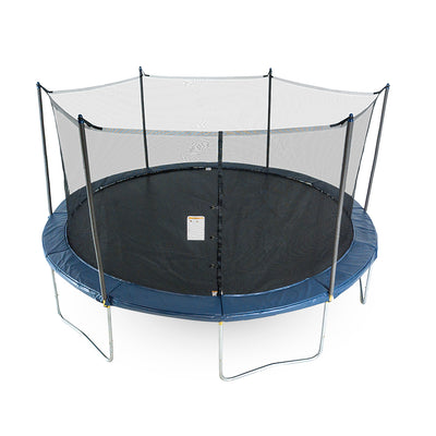 Sixteen-foot round trampoline with navy spring pad, navy pole caps, black enclosure net, and black jump mat.