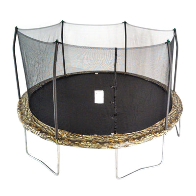 15-foot round trampoline with camouflage spring pad, green pole caps, and black jump mat.