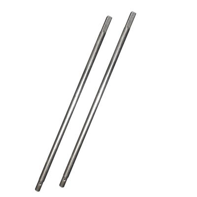 Two replacement lower enclosure straight tubes made out of galvanized steel.
