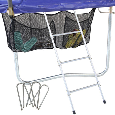The accessory kit comes with the three-rung trampoline ladder, a shoe storage bag, and 4 wind stakes.