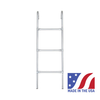 Skywalker Trampolines 3-rung ladder with a Made in the USA graphic in the right-hand corner.