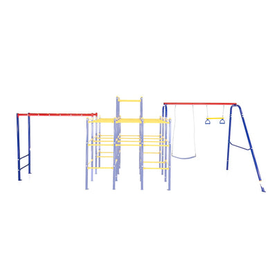 The Monkey Bars module and the Swing Set module connect to the Modular Jungle Gym Base.