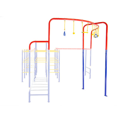 The Hanging Jungle Line module must be attached between the Monkey Bars and the Hanging Bridge modules.