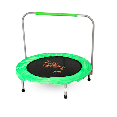 36-inch mini kids trampoline with green frame pad, green padded handlebar, and orange frog design on jump mat.