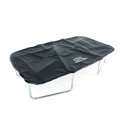 15-foot rectangle trampoline with black accessory weather cover on top.