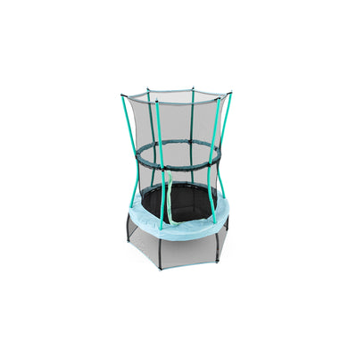 40-inch round mini kids trampoline with light blue frame pad and seafoam green padded poles.