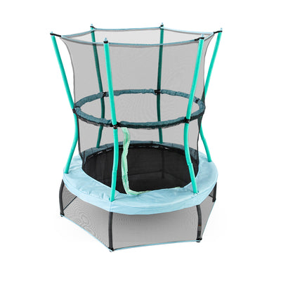 48-inch round mini kids trampoline with baby blue frame pad, seafoam padded poles, and both upper and lower black enclosure net.