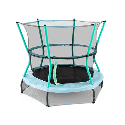 60-inch round mini kids trampoline with baby blue frame pad, seafoam padded poles, and both upper and lower black enclosure net.