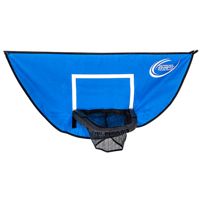 The basketball hoop has a blue and white backboard and a black net.