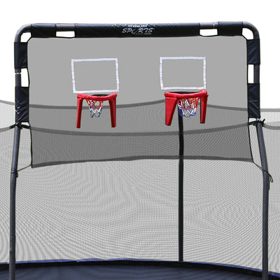 The double basketball hoop game has black netting; gray foam; and a red, white, and blue basketball hoop.