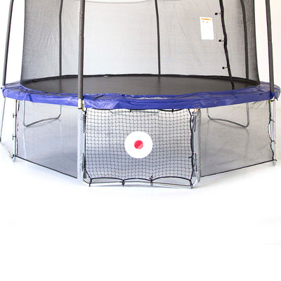 A trampoline with Kickback Game net attached to the legs of the trampoline. Kickback Game net has red and white target.