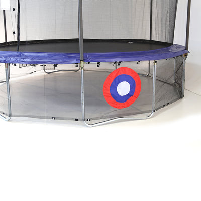 Blue round trampoline with Sureshot game net wrapped around its legs. Sureshot net has a red, white, and blue target.