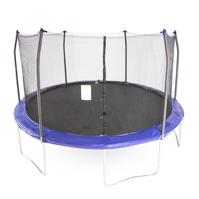 Fifteen-foot round trampoline with blue spring pad, blue pole caps, black jump mat, and steel frame.