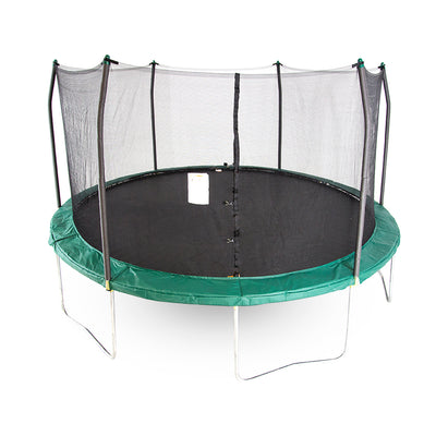 15-foot round trampoline with green spring pad and green pole caps.