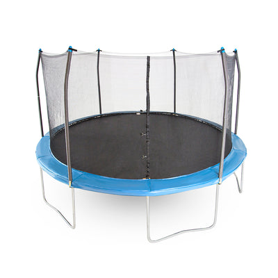 15-foot round kids trampoline with soft bright blue spring pad.