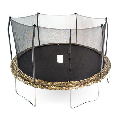 15-foot round trampoline with camouflage spring pad and green pole caps.