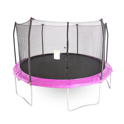 15-foot round trampoline with purple spring pad and purple pole caps.