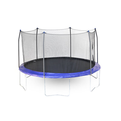 Fourteen-foot round trampoline with blue spring pad, blue pole caps, black enclosure net, and black jump mat.