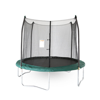 Ten-foot round trampoline with green spring pad, green pole caps, black jump mat, and black enclosure net.