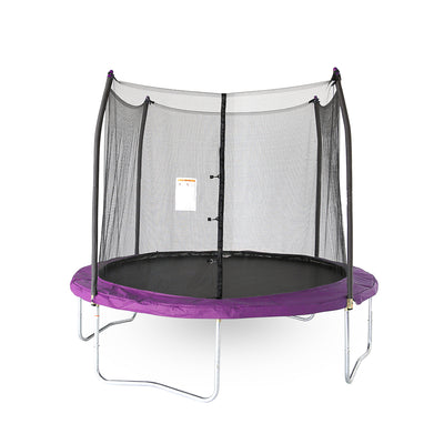 Ten-foot round kids trampoline with purple spring pad, purple pole caps, steel frame, black enclosure net, and black jump mat.