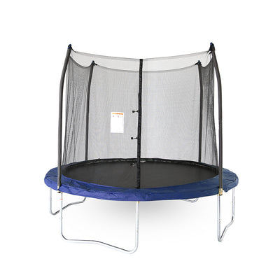 10-foot round kids trampoline with blue spring pad and blue pole caps.